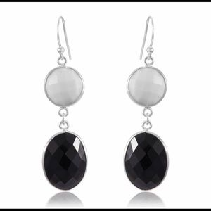 White Agate And Black Onyx Double Drop Earrings
